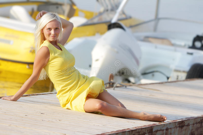 Download Happy Woman On Boats Background Stock Image - Image: 26650447