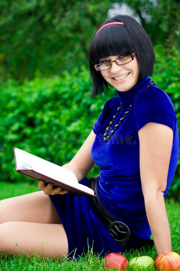 Download Happy Woman With Book Outdoors Stock Image - Image of beauty, nature: 19286821