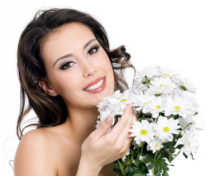 Download Happy Woman With  Bouquet Of Flowers Stock Image - Image: 18710869