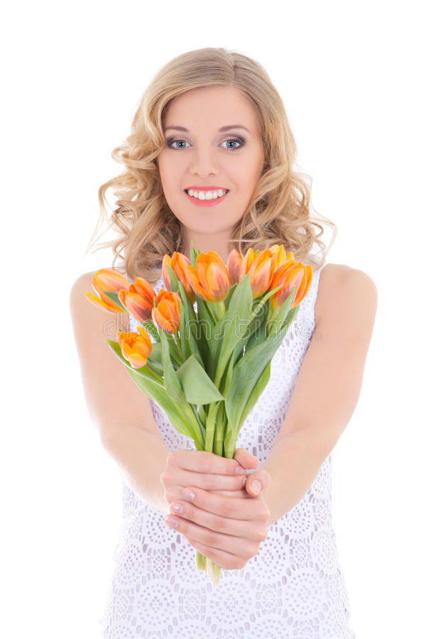 Happy Woman With Bunch Of Tulips Stock Photo