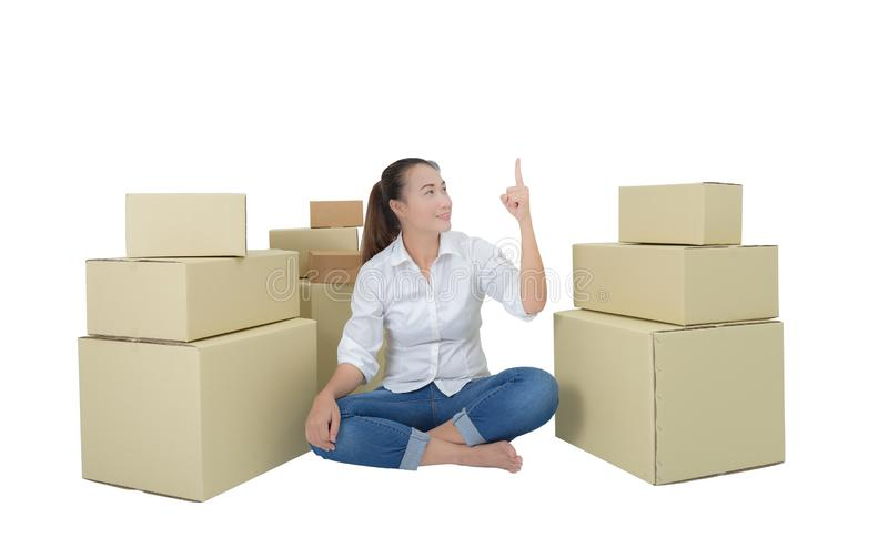Happy woman, business for delivery object into new home. Isolated on white background with clipping path stock photography