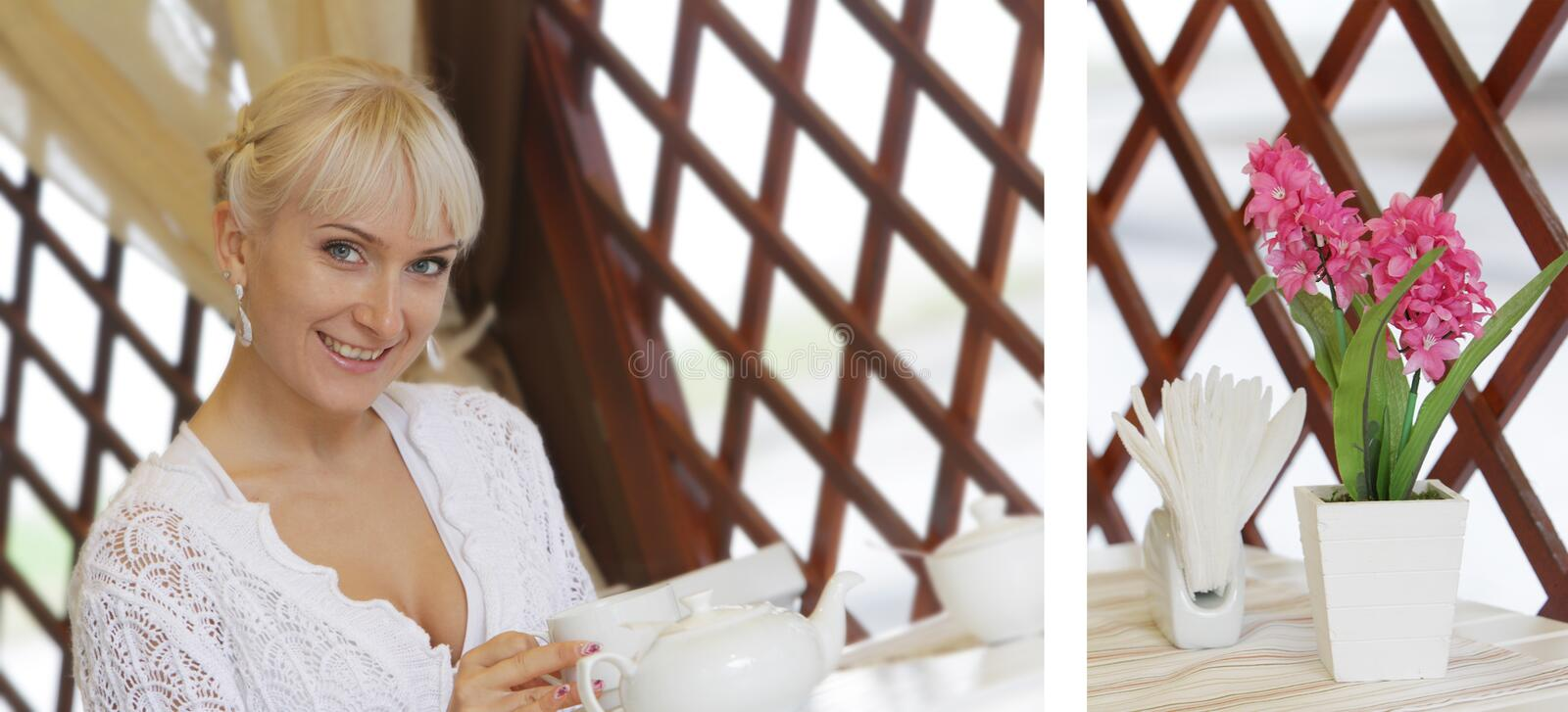 Happy woman in cafe / restaurant royalty free stock photos