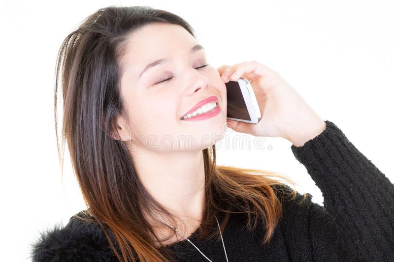 Happy woman calling closed eyes on the smart phone royalty free stock photos
