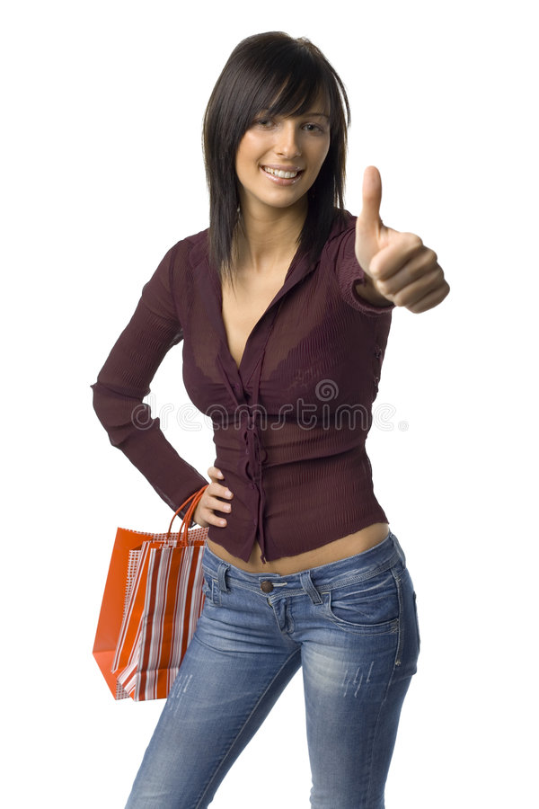 Happy woman with carrier bags royalty free stock image