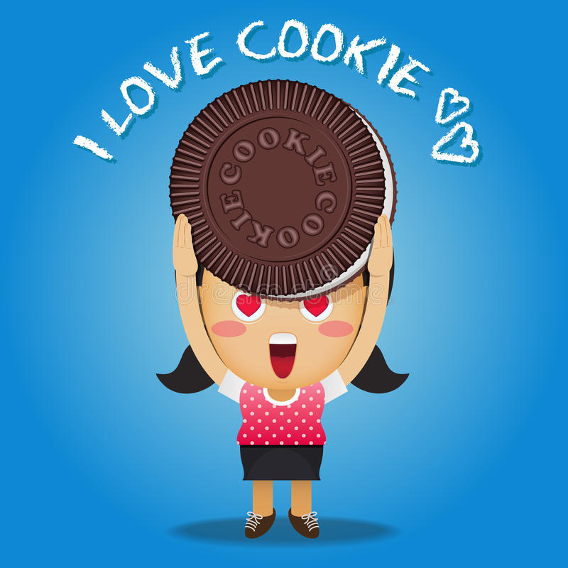 Happy woman carrying big cookie stock illustration