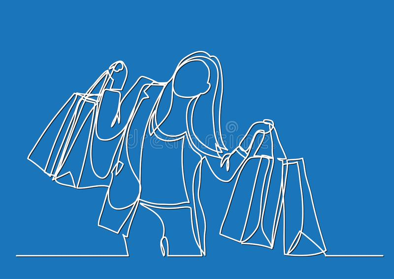 Happy woman carrying shopping bags - continuous line drawing royalty free illustration