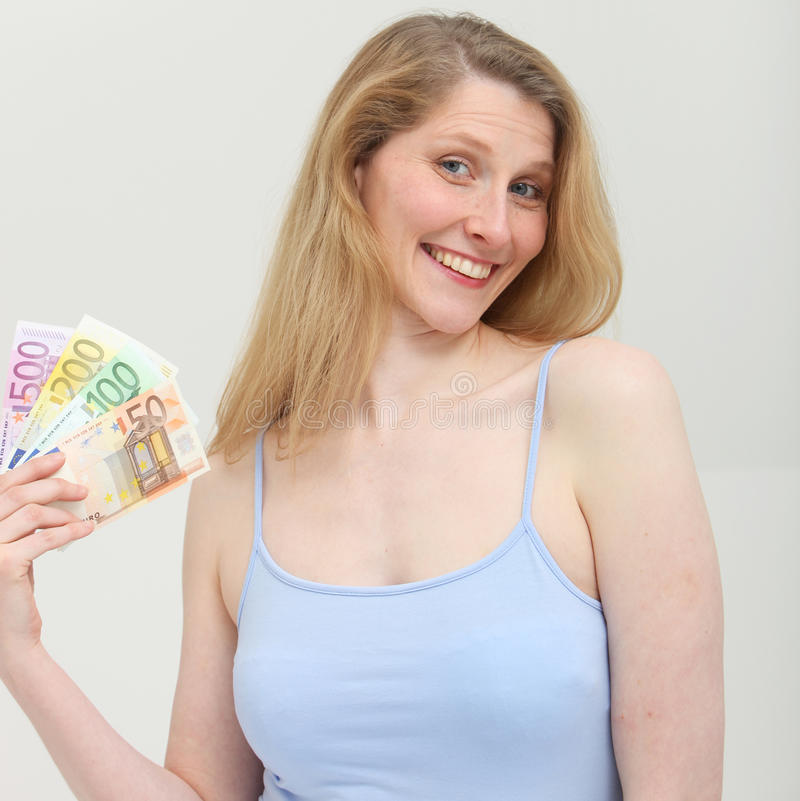 Download Happy Woman With Cash From Business Turnover Stock Photography - Image: 24895052