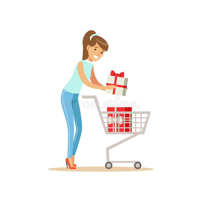 Happy woman in a casual clothes putting a gift box in the shopping cart, shopping in grocery store, supermarket or. Retail shop, colorful character vector royalty free illustration
