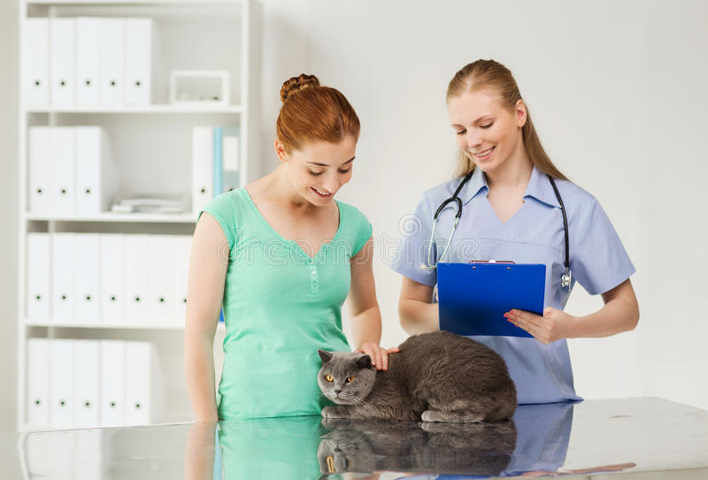 Happy woman with cat and doctor at vet clinic. Medicine, pet, animals, health care and people concept - happy women with british cat and veterinarian doctor with stock photography
