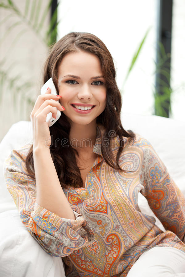 Download Happy Woman With Cell Phone Stock Image - Image of indoors, cellular: 39514549