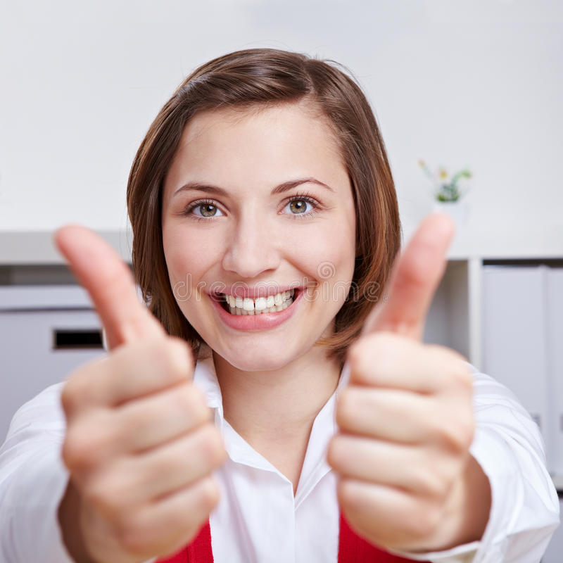 Download Happy Woman Cheering With Two Thumbs Up Stock Photo - Image: 25222582