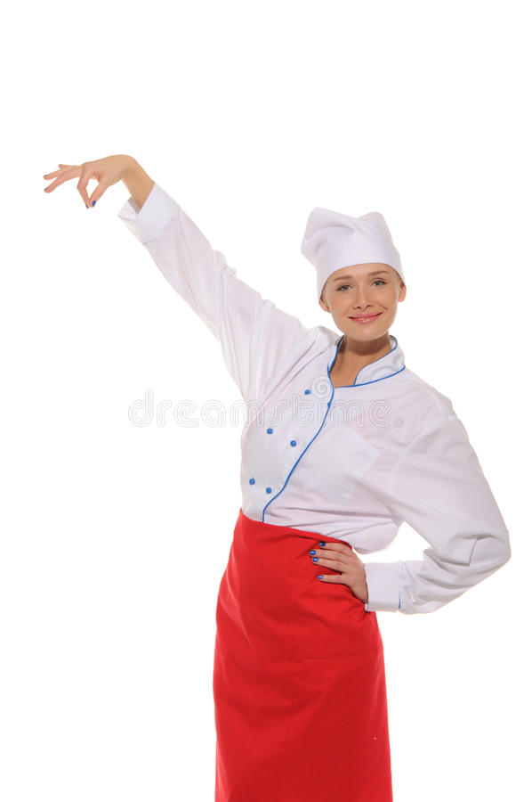 Happy woman chef picks up royalty free stock images