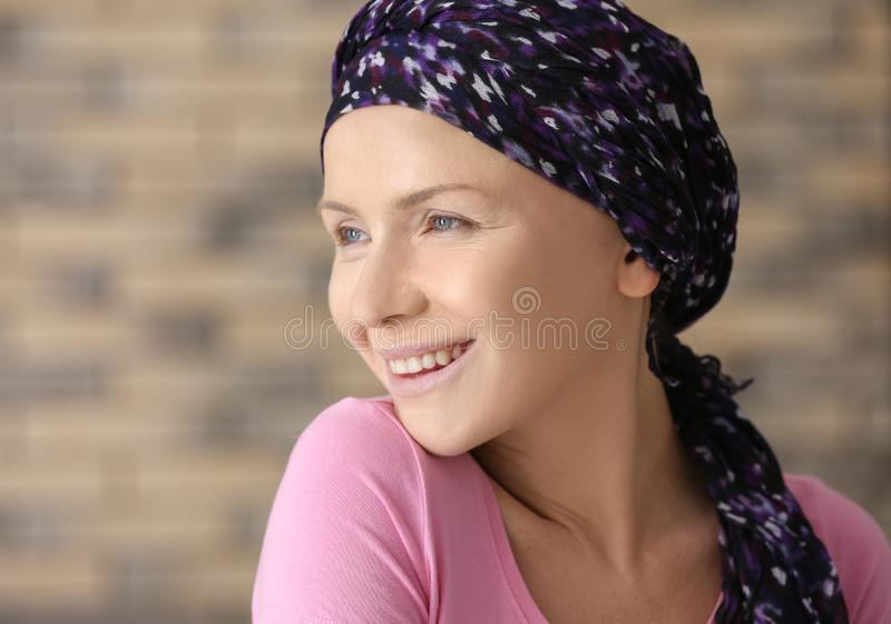 Happy woman after chemotherapy at home royalty free stock images