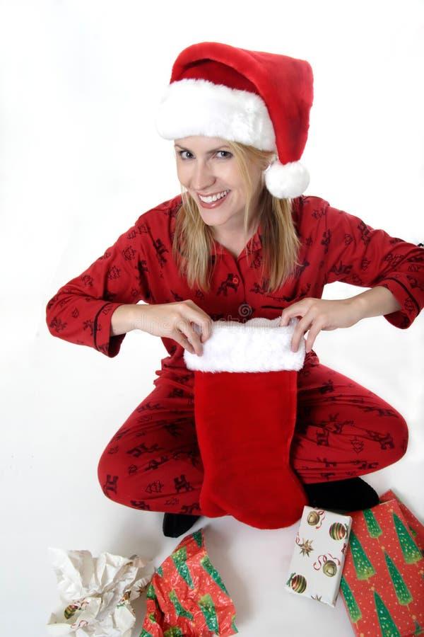 Happy woman on Christmas stock photos