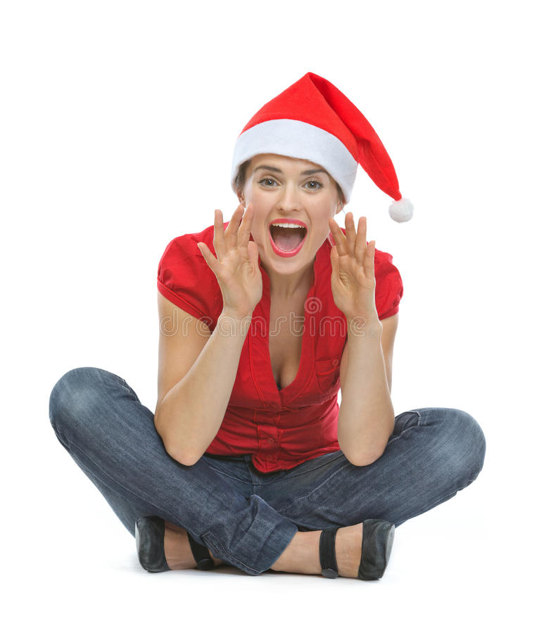 Download Happy Woman In Christmas Hat Shouting Stock Image - Image: 26726027