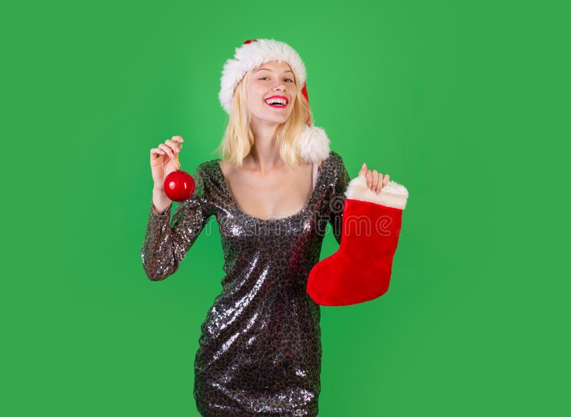 Happy Woman Christmas. Christmas Stockings. Glamour Celebration