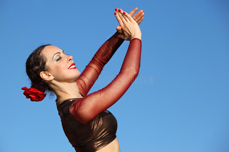 Happy woman claps his hands royalty free stock image