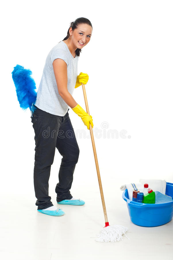 Happy woman cleaning floor royalty free stock images
