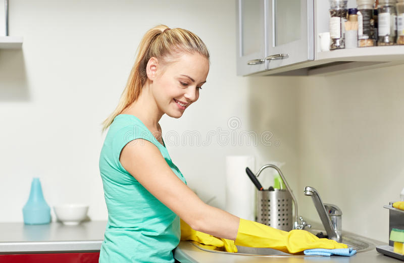 Happy Woman Cleaning Table At Home Kitchen Stock Image - Image of ...