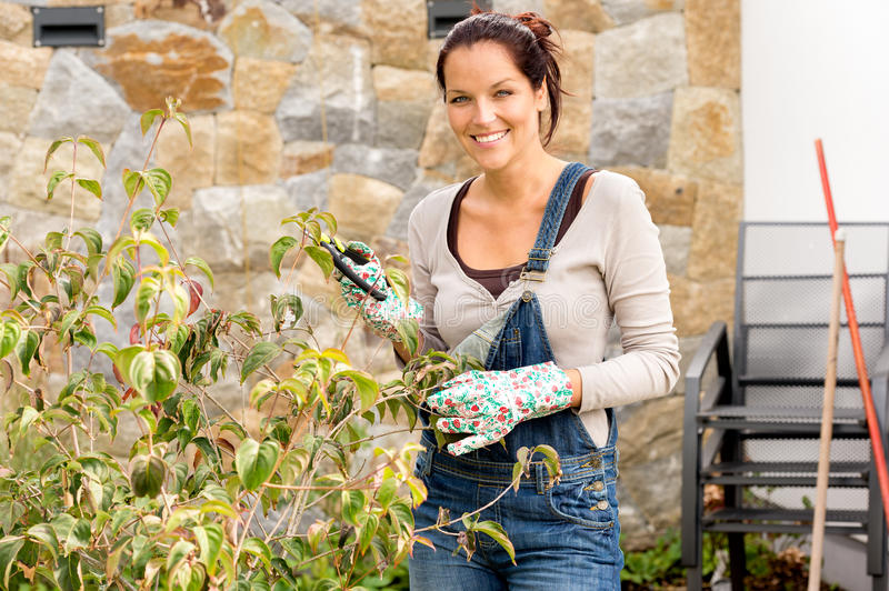 Happy woman clipping bush garden hobby clippers royalty free stock photography