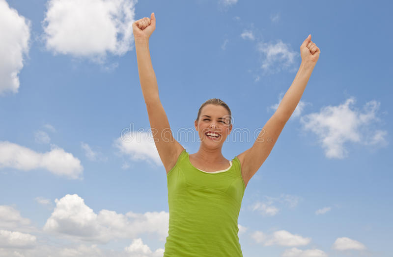 Download Happy Woman and Clouds stock photo. Image of arms, outside - 10546232