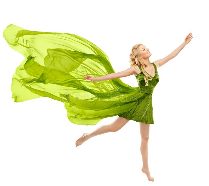 Happy Woman Dance in Flying Green Dress, Beautiful Young Girl in Gown with Waving Fluttering Cloth royalty free stock photography