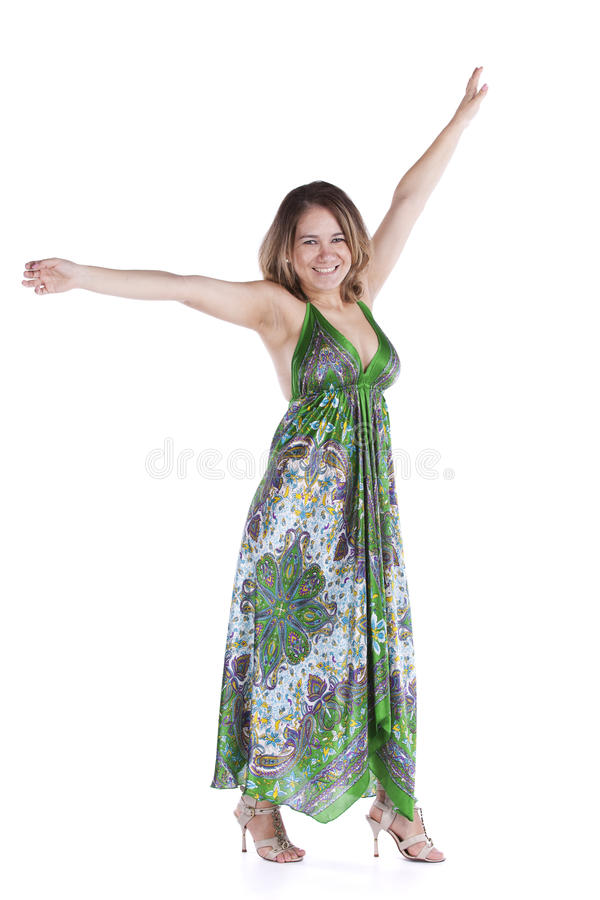 Happy woman dancing stock photography