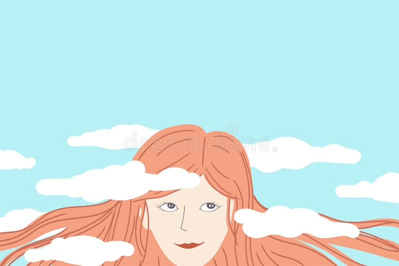 Happy woman daydreaming with her head in the clouds royalty free stock images