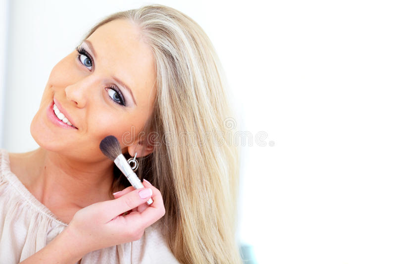 Download Happy woman doing makeup stock image. Image of caucasian - 18951753