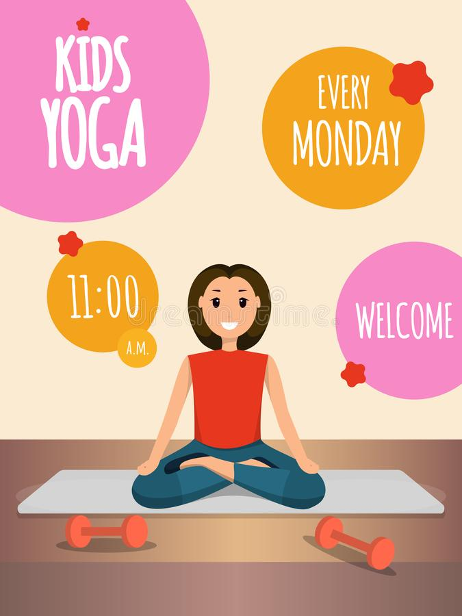 Happy Woman Doing Yoga Sport Training Program stock illustration