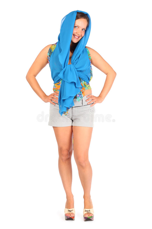 Happy Woman Dressed In Shorts And Pareo Poses Royalty Free Stock Photography