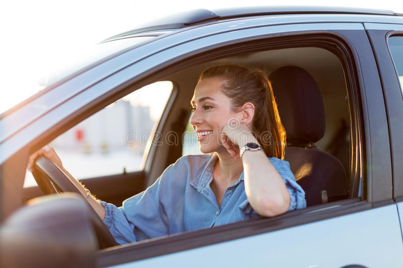 Woman traveling by car royalty free stock images