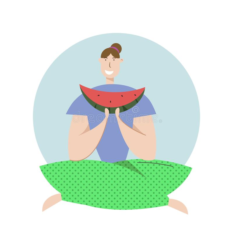 Happy Woman Eat Watermelon on Picnic. Female Character Relaxing on Nature Landscape. Vector Flat illustration stock image