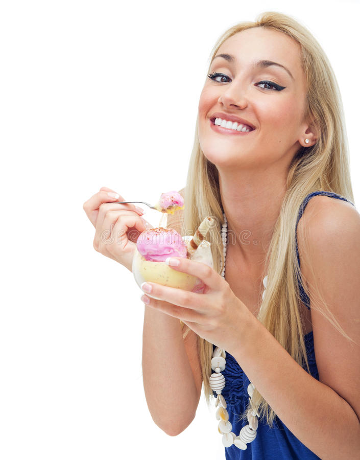 Download Happy Woman Eating Ice Cream Stock Image - Image: 26032255