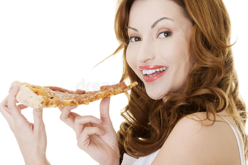 woman eating pizza over white stock photo  image of