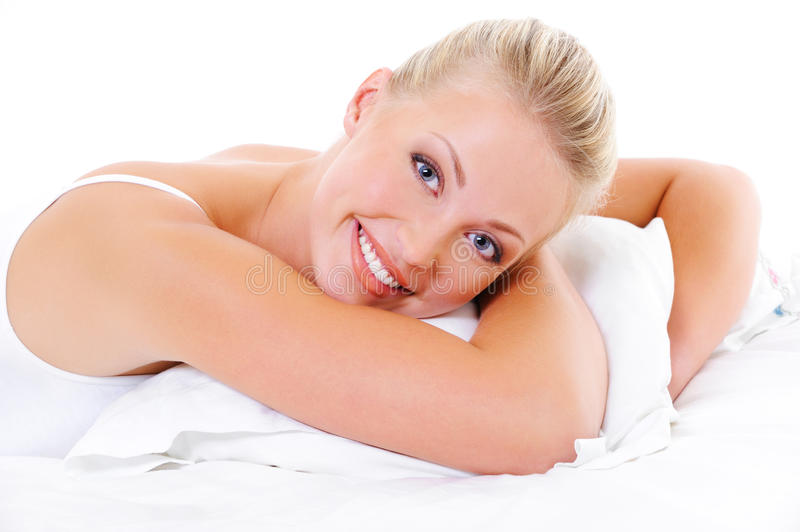 Download Happy Woman Embrace The White Pillow Stock Photo - Image: 11273218