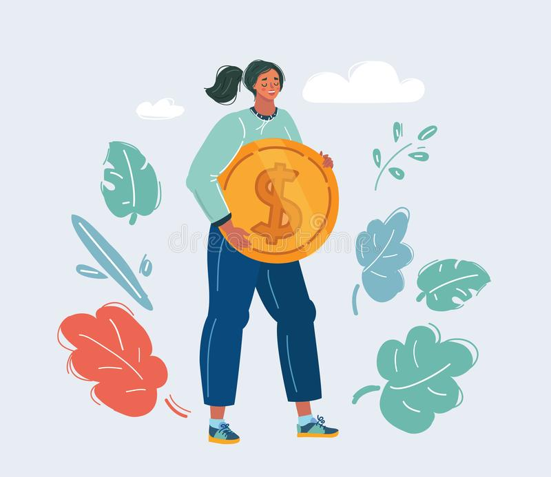 Happy woman embracing big coin royalty free illustration