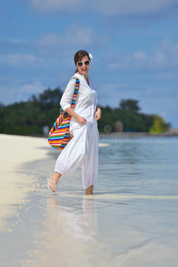 Happy woman enjoy summer time royalty free stock photo