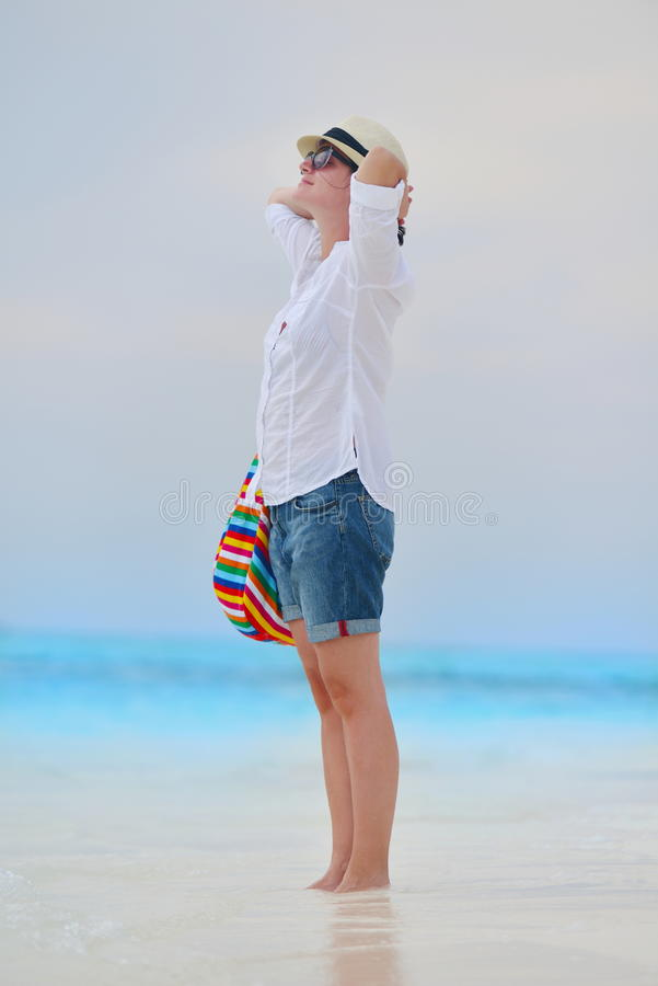 Download Happy Woman Enjoy Summer Vacation Stock Photo - Image of girl, relax: 38562312