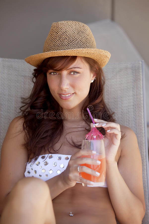 Happy woman enjoying summer royalty free stock photography