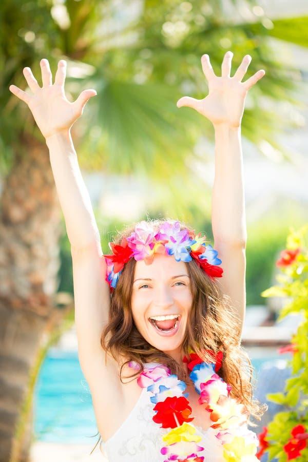 Happy woman enjoying sun on the beach royalty free stock photos