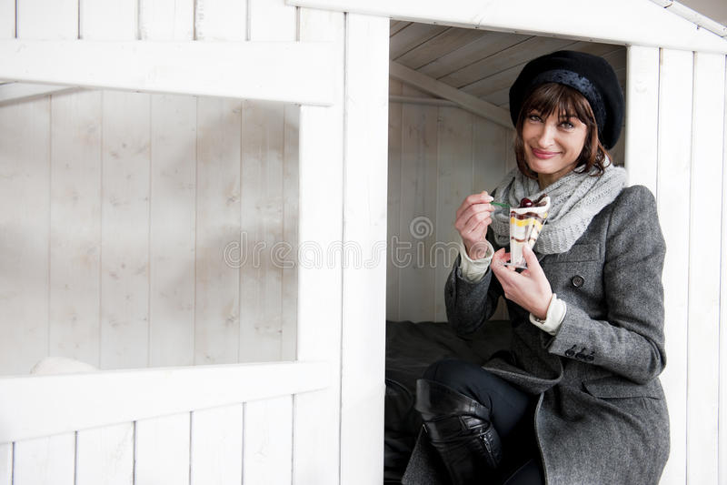 Happy Woman Enjoying Sweet