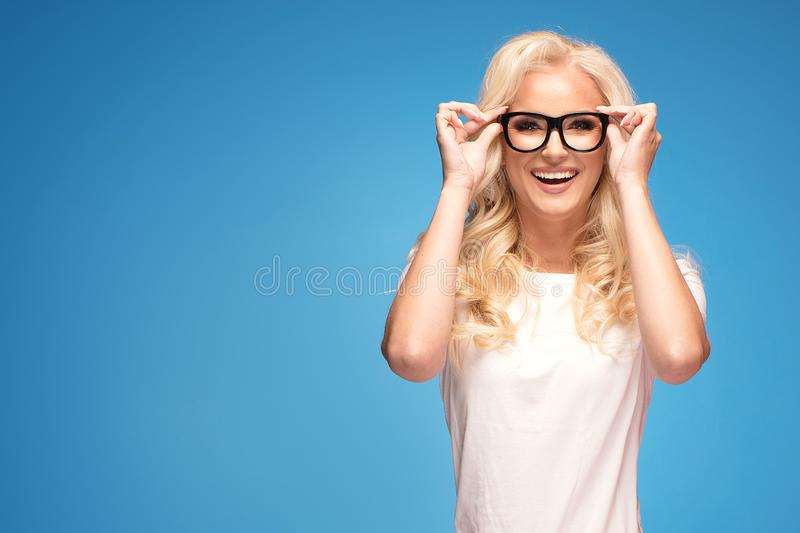 Happy woman with eyeglasses royalty free stock photos