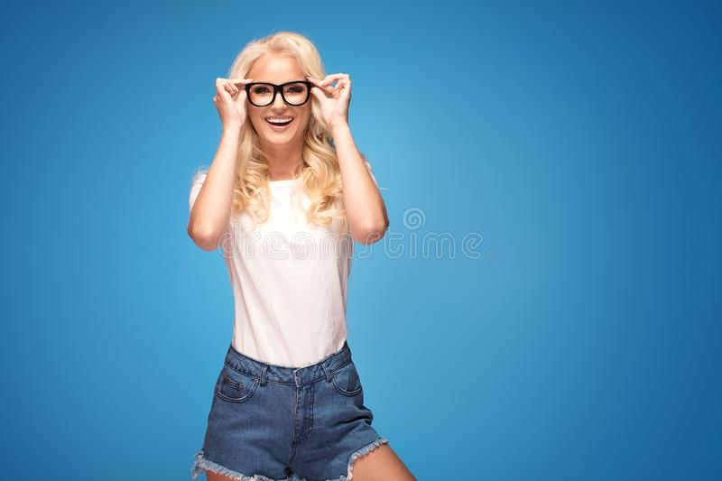 Happy woman with eyeglasses stock photography