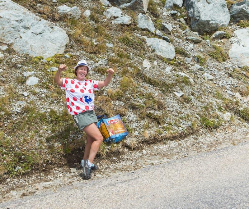 Happy Woman Fan - Tour de France 2015 stock photography