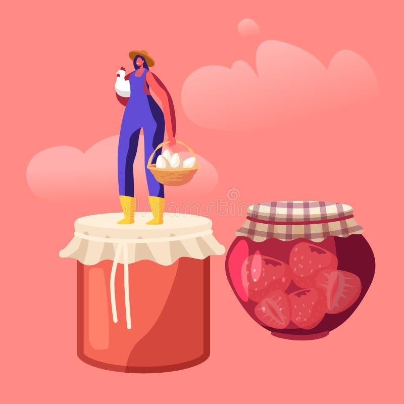 Happy Woman Farmer presenteert lokale voedsel- en eco-productie voor verkoop, behoud van homemade-jam in Glass Jar en Eieren stock illustratie