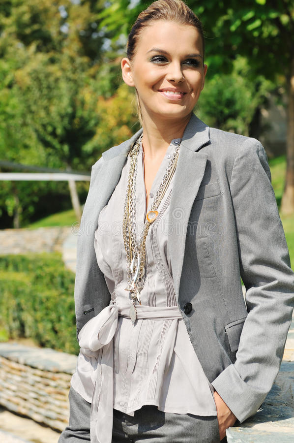 Happy woman fashion outdoor stock image