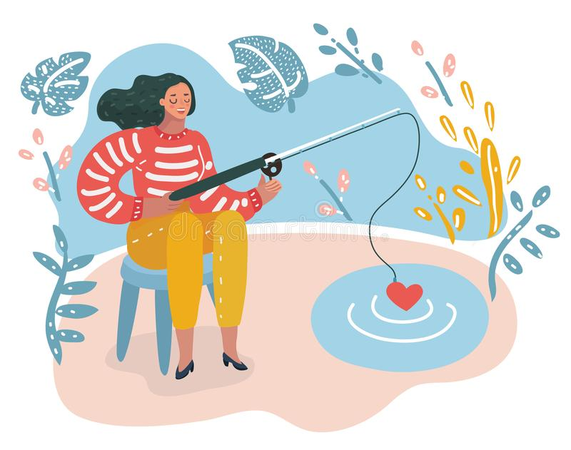 Happy Woman Fishing love From Pond. royalty free illustration