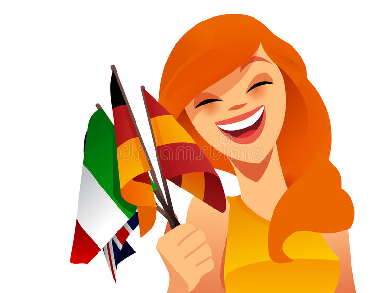 Download Happy woman with flags stock vector. Image of fresh, attractive - 27014292