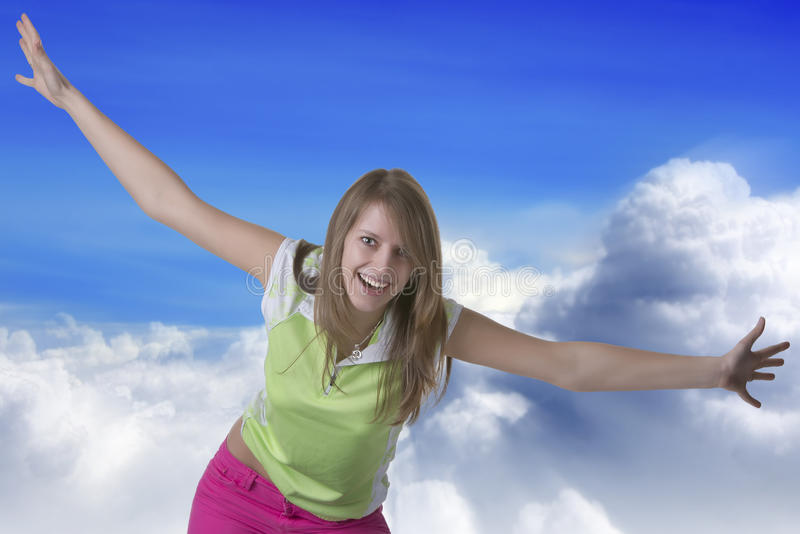 Download Woman Flying In The Sky Royalty Free Stock Images - Image: 30049449